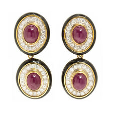 18K 750 Yellow Gold Ruby Diamond Black Enamel Convertible Earrings
