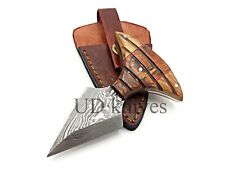 UD CUSTOM HANDMADE 1095 DAMASCUS STEEL  FULL TANG HUNTING KNIFE 466