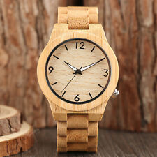 Casual Handmade Wood Bamboo Luminous Wrist Watch Sport Fold Clasp Men Women Gift