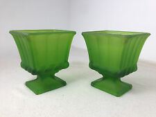Green Glass Frosted satin Planters vase roman romanesque late victorian