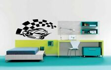 Decor Vinyl Sticker Boys Room Decal Art Tattoo Racing Car Checkered Design #669