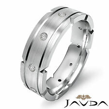Mens Wedding Dome Band Platinum 0.21Ct Bezel Round Natural Diamond Eternity Ring
