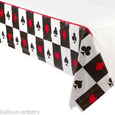 """54""""x96"""" Place Your Bets Casino Playing Card Night Disposable Plastic Table Cover"""