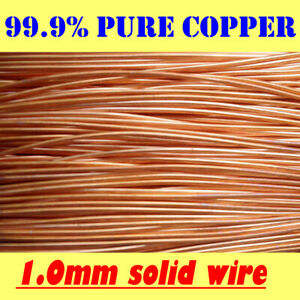 10 METRES SOLID BRIGHT COPPER WIRE, 1.0 mm = 19G SWG = 18G AWG !!FREE POSTAGE!!