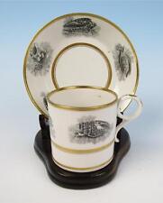 c.1810 Barr, Flight & Barr Porcelain Cup & Saucer Bat Print Antique Worcester #1