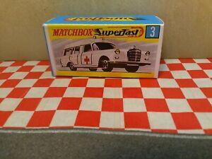 Matchbox Superfast No 3  MERCEDES BENZ BINZ Ambulance EMPTY Repro Box NO CAR