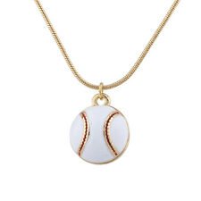 Lux Accessories Gold Tone Baseball Sports Novelty Pendant Necklace for Women