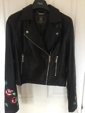 Lipsy London leather embroiled bike jacket-size :Uk 10-brand new with tags