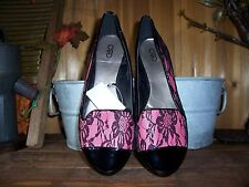 CATOS WOMENS DRESS SLIPPERS SIZE 10 PINK BLACK WITH FLOWER DESIGN WOMENS CASUAL