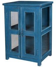 "31"" Lorna Cabinet Wood Glass Double Doors Antique Blue Metal Handles"