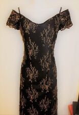 WOMENS BLACK GOLD EMBROID VINTAGE FORMAL EVENING GOWN by VICTORIA ROYAL