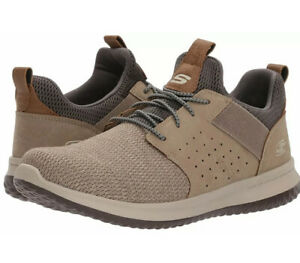 Skechers Size UK 12 Classic Fit Trainers / Shoes Delson Camden Taupe
