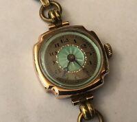 Ladies 9ct 9k Gold Green Enamel Deco Watch