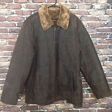 Robert Comstock Distressed Leather Coat Faux Fur Lined XL Brown Zip Front Jacket