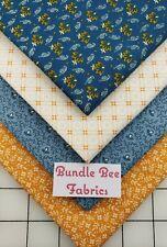 Fat Quarter bundle lot of (4) new CHEDDAR & BLUE CIVIL WAR % cotton