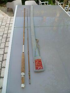 ancienne canne a peche michel pezon vintage fishing bamboiu refendu  collection