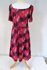 Vintage Short Sleeved  DRESS  Burgundy/White/Floral     Size UK 14       017 Y