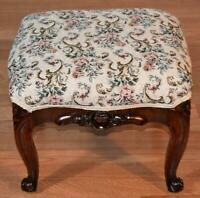 1880s Antique French Louis XV carved Walnut footstool / ottoman New Upholstery