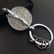 Car logo Metal double side crystal 360 rotation Key chain key Ring for JAGUAR