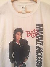 Bianco Michael Jackson Bad ALBUM T Shirt GRANDE Mans GRATIS P&P