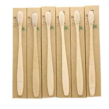 6 Pack Bamboo Toothbrush Soft Bristles Small Head White Bristles