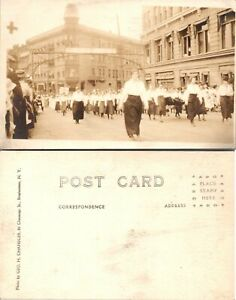 Vintage Postcard Real Photo Women Marching Downtown Unposted 1e