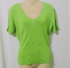 COLOUR WORKS Lime Green Button Accented Knit Top Size Medium B7