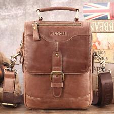 """100% Genuine Leather Men's Sling Shoulder/Messenger Bag Double Zipper 8"""" Handbag"""