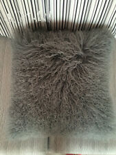 Grey Mongolian Lamb Wool 45X45cm Cover Curly Fur Pillowcase 18*18inch High-grade