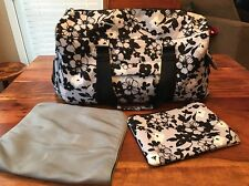 The Bumble Collection Black/White Floral Diaper Bag Stroller Duffel Bag (KZ)