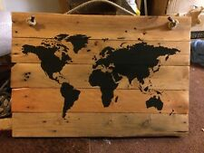 World Map On Pallet Wood Boards. Travel Pins. Holiday Destinations. Education