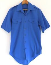 Vtg 80s Fashion Seal Royal Blue Surf Skate Rockabilly Retro Button Front Shirt M