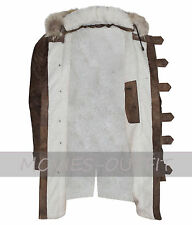Mens Winter Real Faux Fur Hood Distressed Brown Shearling Leather Jacket - Sale