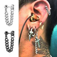 Cool Mens Stainless Steel Chain Dangle Ear Stud Piercing Earrings Charm Jewelry