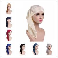 Women Turban Muslim Hijab Ruffle Long Tail Chemo Cap Hair Loss Headwear Scarf