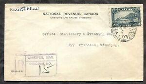 p1455 - WINNIPEG 1930 Local Registered Cover. National Revenue, Customs ✉