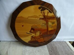 Vintage Gabriella Marquetry Wooden Inlay Wall Hanging Plaque Of Sorrento Italy.