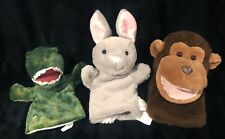 Hand Puppets Lot 3 Monkey Bunny Rabbit Dinosaur Preschool Pretend Play Toys