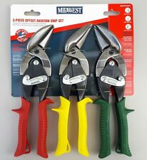 MIDWEST OFFSET AVIATION TIN SNIPS 3 PIECE SET LEFT RIGHT  STRAIGHT CUT Brand New