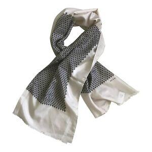 Paul Smith Ladies 100% Silk Scarf Woven Silk Filigree Grey/green/black