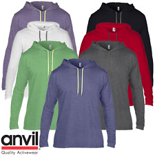 Anvil MEN'S LONG SLEEVE T-SHIRT HOODIE JUMPER HOOD FASHION NEON COTTON TOP S-2XL