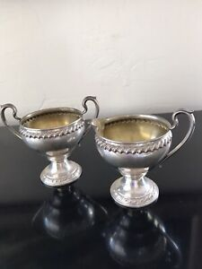 Rogers Sterling Silver Gadroon Footed Creamer Sugar Gold Wash 257 gr