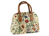 Signare Ladies Tapestry Fashion Handbag / Shoulder Bag In Morning Garden Design