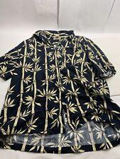 Bambu You Blue Floral Bamboo Print Button-Front Hawaiian Camp  Shirt XXL