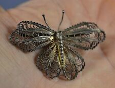 Wings 925 Brooch Pin 4.8 grams Vintage Solid Silver Butterfly Detailed Filigree
