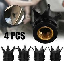 4x Car Bike Tire Wheel Tyre Valve Stem Caps Set Air Dust Cover Caps Black Crown