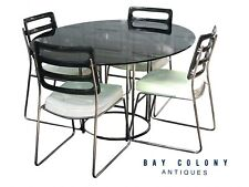 20TH C VINTAGE MID CENTURY MODERN CHROMCRAFT SMOKED LUCITE DINING ROOM SET
