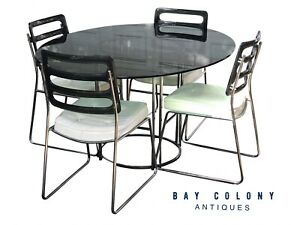 20TH C VINTAGE MID CENTURY MODERN SET OF FOUR SMOKED LUCITE CHROMCRAFT CHAIRS