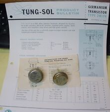 NOS TUNG-SOL Pair Ge PNP POWER TRANSISTOR 2N174 & Copy Data  BVcbo 80V, Ic 15A