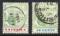 Mauritius Two Stamps 6 Cents & 18 Cents Stamp c1895-99 Used (1252)